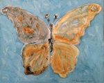 Lepidottero ginandromorfo. Olio su tela